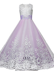 cheap -Princess Maxi Flower Girl Dress - Lace / Tulle Sleeveless Jewel Neck with Bow(s) / Lace / Paillette