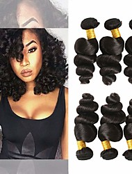 cheap -3 Bundles Brazilian Hair Loose Wave 100% Remy Hair Weave Bundles 300 g Natural Color Hair Weaves / Hair Bulk Extension Bundle Hair 8-28 inch Natural Color Human Hair Weaves Gift New Arrival Hot Sale