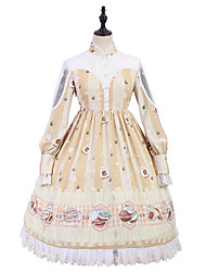cheap -Patterned Princess Lolita Cute Dress All Tulle Japanese Cosplay Costumes Golden Print Animal Lace Bishop Sleeve Long Sleeve Knee Length Medium Length