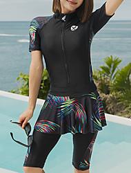 abordables -JIAAO Femme Combinaison Fine Combinaisons Chaud Manches Longues Zip frontal - Natation Couleur Pleine Eté / Haute élasticité