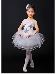cheap -Kids' Dancewear / Ballet Dresses Girls' Training / Performance Faux Fur / Elastic / Lace Lace / Ruching / Tiered Sleeveless High Leotard / Onesie