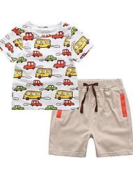 cheap -Kids Toddler Boys' Active Street chic Geometric Color Block Cartoon Print Short Sleeve Short Short Cotton Clothing Set White