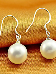 cheap -Women's Drop Earrings Classic Stylish Simple Imitation Pearl Silver Plated Earrings Jewelry White For Daily Work 1 Pair