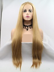 cheap -Synthetic Lace Front Wig kinky Straight Layered Haircut Lace Front Wig Blonde Long Light golden Synthetic Hair 24 inch Women's Women Blonde Sylvia