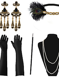cheap -The Great Gatsby Necklace Earrings Retro Vintage 1920s The Great Gatsby Artificial feather Costume Accessory Sets Outfits Masquerade For Party / Cocktail Festival Halloween Carnival Women's Costume