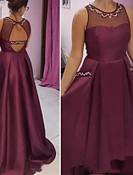 cheap -A-Line Jewel Neck Sweep / Brush Train Satin Bridesmaid Dress with Beading / Open Back