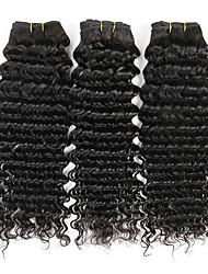 cheap -3 Bundles Brazilian Hair Deep Wave Virgin Human Hair Natural Color Hair Weaves / Hair Bulk Human Hair Extensions 8-28 inch Natural Color Human Hair Weaves Soft Hot Sale Cool Human Hair Extensions