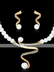 cheap -Women's Stud Earrings Pendant Necklace Classic Precious Stylish Classic Imitation Pearl Rhinestone Gold Plated Earrings Jewelry White For Party Street 1 set