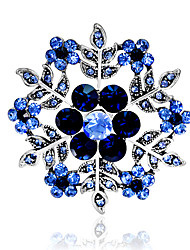 cheap -Women's Brooches Hollow Out Snowflake Stylish Rhinestone Gold Plated Brooch Jewelry Purple Blue For Party Daily