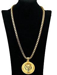 Недорогие -Муж. Ожерелья с подвесками Лев европейский Хром Золотой 46+5 cm Ожерелье Бижутерия 1шт Назначение Повседневные
