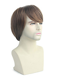 cheap -Synthetic Wig Toupees Weave Natural Wave Natural Straight Bob Wig Short Brown Synthetic Hair 10 inch Men's Fashionable Design Synthetic New Brown / African American Wig