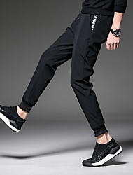 cheap -Men's Running Pants Track Pants Sports Pants Athletic Pants / Trousers Athleisure Wear Patchwork Beam Foot Corduroy Cotton Fitness Tummy Control Soft Plus Size Sport White / Black Black with White