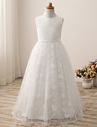 cheap -Ball Gown Long Length Flower Girl Dress - Cotton / Tulle Sleeveless Jewel Neck with Embroidery / Solid