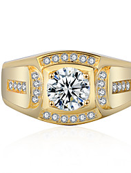 cheap -Women's Ring Cubic Zirconia 1pc Gold Silver Alloy Circular Trendy Elegant Wedding Jewelry Fancy Flower Cute
