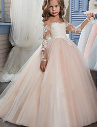 cheap -Ball Gown Sweep / Brush Train Wedding / Birthday / Pageant Flower Girl Dresses - Lace / Tulle Long Sleeve Off Shoulder with Lace / Embroidery / Appliques