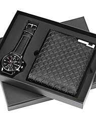 cheap -Men's Dress Watch Quartz Gift Set New Arrival Chronograph Analog Black Black / Brown Silver / One Year / Stainless Steel / Leather
