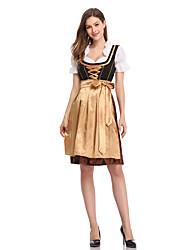cheap -Oktoberfest Beer Dirndl Trachtenkleider Women's Dress Bavarian Costume Gold