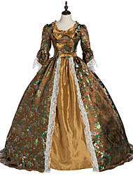 cheap -Princess Maria Antonietta Floral Style Rococo Victorian Renaissance Dress Party Costume Masquerade Women's Lace Lace Costume Brown Vintage Cosplay Christmas Halloween Party / Evening 3/4 Length Sleeve
