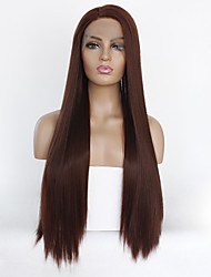 cheap -Synthetic Lace Front Wig Straight Kardashian Style Layered Haircut Lace Front Wig Dark Brown Brown Synthetic Hair Women's Heat Resistant Dark Brown Wig Long / Yes
