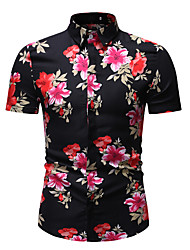 cheap -Men's Shirt Floral Graphic Print Tops Basic Street chic Classic Collar Rainbow / Short Sleeve / Beach
