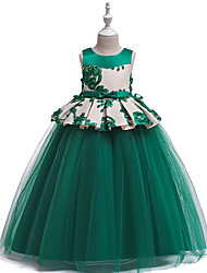cheap -Princess Dress Girls' Movie Cosplay New Year's Red Pink Green Skirt Christmas Halloween New Year Polyester / Cotton Polyester