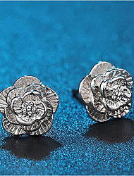 cheap -Women's Stud Earrings Classic Flower Stylish Simple Silver Plated Earrings Jewelry Silver For Daily Work 1 Pair