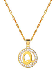 cheap -Women's Clear AAA Cubic Zirconia Pendant Necklace Necklace Charm Necklace X Letter Simple Fashion 18K Gold Plated Brass Platinum Plated Gold Silver 55 cm Necklace Jewelry 1pc For Graduation Gift