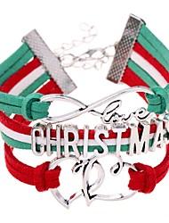 Недорогие -Жен. Браслет ID переплетенный Сердце Буквы Массивный Мода Сплав Браслет Ювелирные изделия Красный Назначение Рождество Подарок