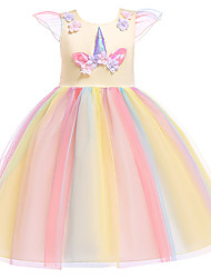 cheap -Princess Midi Birthday Tulle Short Sleeve Jewel Neck with Beading / Embroidery / Appliques