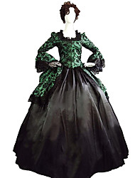 cheap -Princess Maria Antonietta Floral Style Rococo Victorian Renaissance Dress Party Costume Masquerade Women's Lace Costume Green / Black Vintage Cosplay Christmas Halloween Party / Evening 3/4 Length