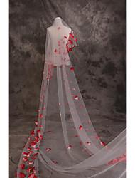 abordables -Une couche Brillant & Séduisant / Amour Voiles de Mariée Voiles cathédrale avec Pétale / Motif floral perlé & dispersé 181,1 à (460cm) Dentelle / Tulle / Voile baissant