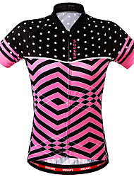 cheap -WOSAWE Women's Short Sleeve Cycling Jersey Polyester Blushing Pink Bike Sweatshirt Jersey Top Mountain Bike MTB Road Bike Cycling Breathable Back Pocket Sweat-wicking Sports Clothing Apparel