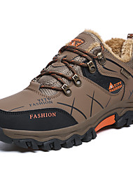 cheap -Men's Snow Boots Leather Winter Sporty / Casual Athletic Shoes Hiking Shoes Warm Black / Army Green / Gray / Non-slipping / Wear Proof