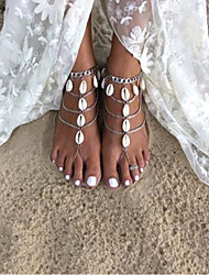 cheap -Barefoot Sandals Ankle Bracelet Vintage European Ethnic Women's Body Jewelry For Daily Holiday Layered Shell Alloy Shell Puka Shell Silver 1pc