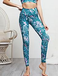 cheap -Women's Yoga Pants Bra Top Floral Print Blue Gym Workout Bottoms Sport Activewear Soft Micro-elastic Slim