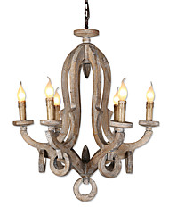 cheap -Ecolight 6-Light 66 cm Adjustable / Candle Style / Tree Chandelier Wood / Bamboo Wood / Bamboo Candle-style / Sputnik / Globe Wood Vintage / Traditional / Classic 110-120V / 220-240V
