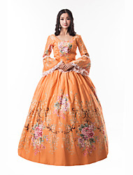 cheap -Princess Maria Antonietta Floral Style Rococo Victorian Renaissance Dress Party Costume Masquerade Women's Lace Costume Orange Vintage Cosplay Christmas Halloween Party / Evening 3/4 Length Sleeve