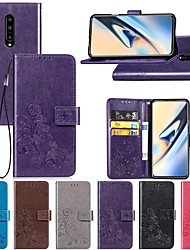 cheap -Case For OnePlus OnePlus 6 / One Plus 6T / One Plus 7 Wallet / Card Holder / Shockproof Full Body Cases Solid Colored / Flower Hard PU Leather