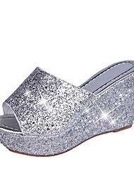 cheap -Women's Sandals Wedge Heel PU Summer Black / Gold / Silver