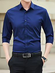 cheap -Men's Wedding Party Basic Shirt - Solid Colored Black
