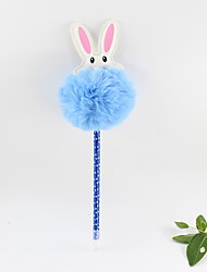 cheap -Plastic PU Rabbit Hair Ball Blue Pencil Lead Ballpoint Craft Gifts For Children Learning Office Stationery