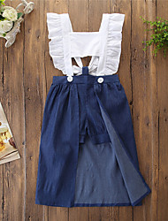 cheap -Kids Toddler Girls' Basic Cute Blue & White Solid Colored Color Block Ruffle Lace up Sleeveless Knee-length Dress Blue / Cotton