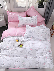 cheap -Fashion Simple style  Printed flowers Duvet Cover Sets Reactive Print  3/4pcs (1 Duvet Cover 1 Flat Sheet 2 Shams- Twin 1pcs)