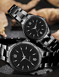 cheap -Couple's Steel Band Watches Quartz Stainless Steel Black / Gold 30 m Water Resistant / Waterproof Creative Casual Watch Analog Classic Fashion - Black Golden+Black Golden+White One Year Battery Life
