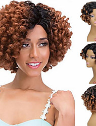 cheap -Synthetic Wig Ombre Afro Curly Beyonce Short Bob Side Part Wig Ombre Short Ombre Black / Medium Auburn Synthetic Hair 12 inch Women's Adjustable Heat Resistant Easy dressing Ombre / Luminous wig