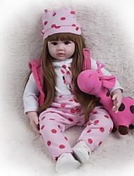 billige -Reborn-dukker Babypiger 24 inch Børn / Teen Børne Pige Legetøj Gave