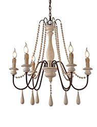 Недорогие -6 ламп винтажная люстра / деревянная подвесная лампа кофейня в стиле рустик для гостиной, столовой, светильники ресторана / e12 / e14 без лампы
