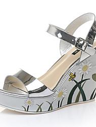 cheap -Women's Sandals Wedge Heel Sequin / Sparkling Glitter Synthetics Sweet / Minimalism Fall / Spring & Summer Gold / Silver