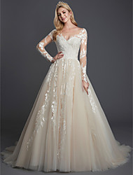 cheap -Ball Gown Illusion Neck Sweep / Brush Train Lace / Tulle Sleeveless Sexy Made-To-Measure Wedding Dresses with Lace 2020