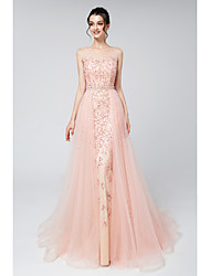 cheap -Two Piece Jewel Neck Court Train Lace / Tulle Elegant & Luxurious / Sparkle & Shine Formal Evening Dress with Beading / Appliques 2020